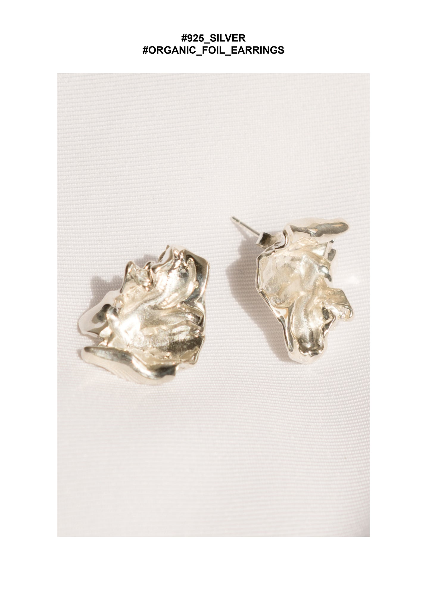 925 Silver Organic Foil Earrings - whoami
