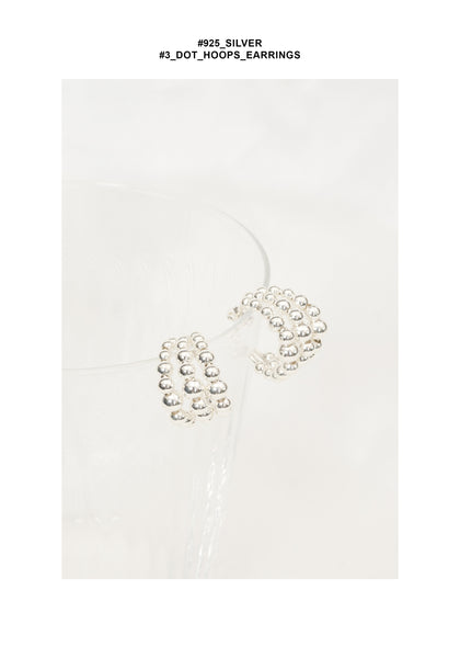 925 Silver 3 Dot Hoops Earrings - whoami