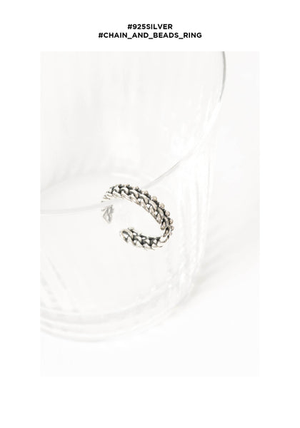 925 Silver Chain And Beads Ring