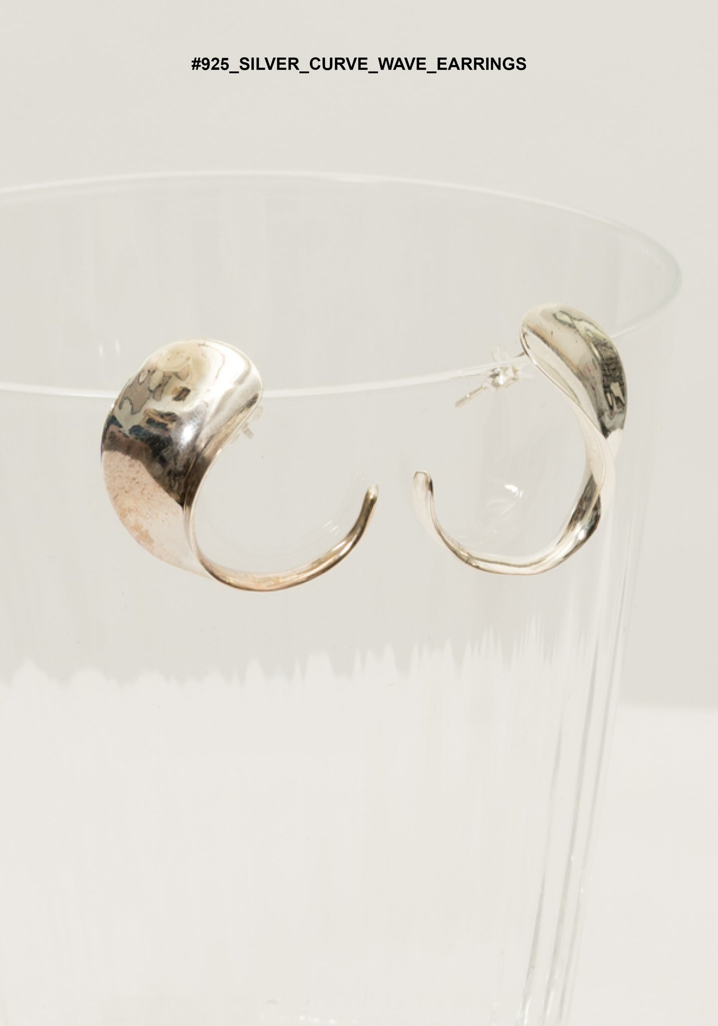 925 Silver Curve Wave Earrings - whoami