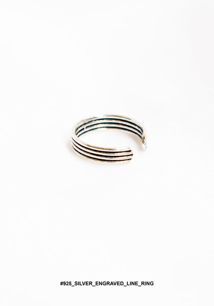 925 Silver Engraved Line Ring - whoami