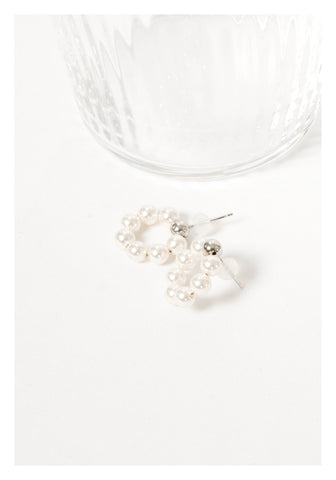 925 Silver Faux Pearl Donut Earrings