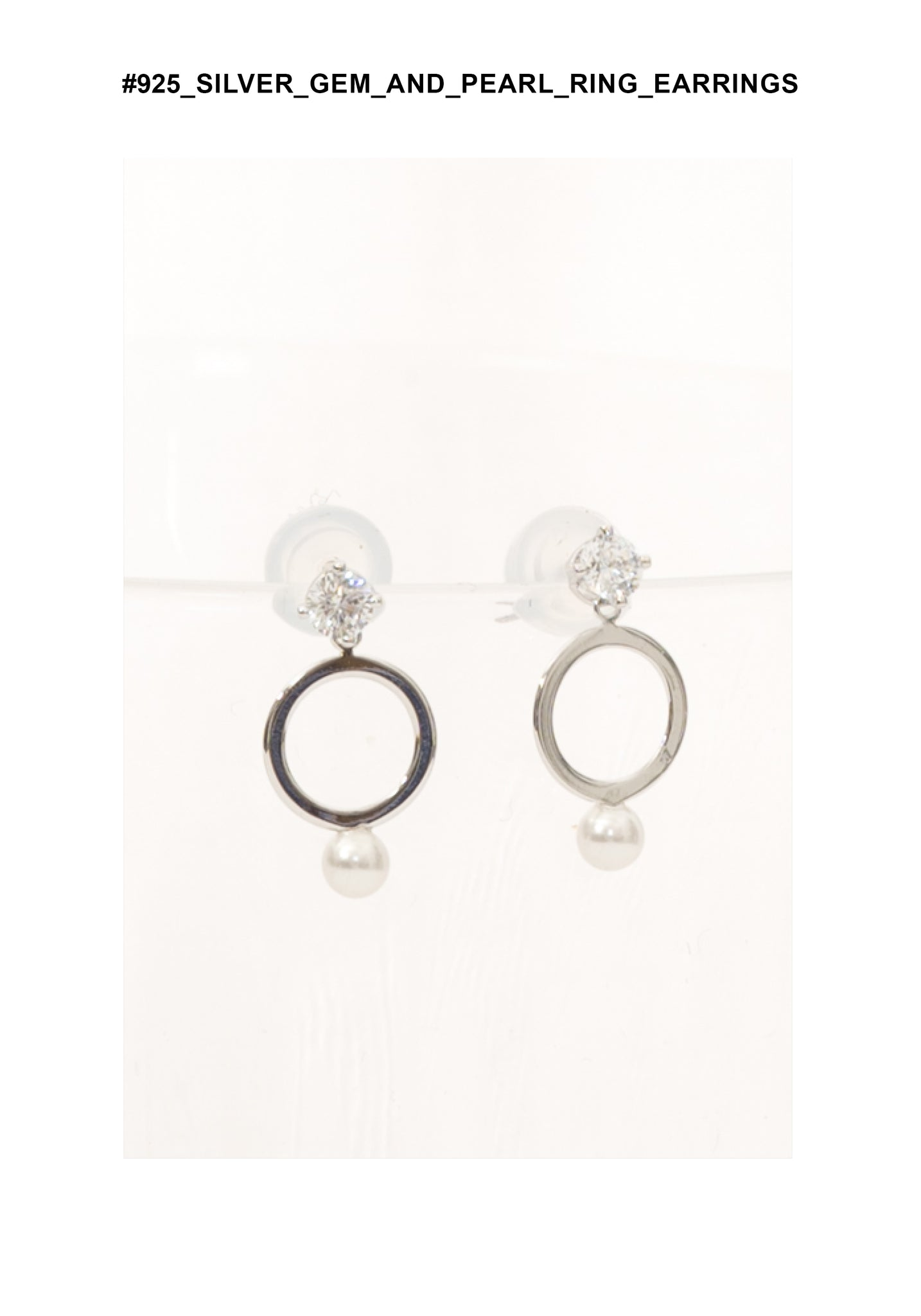 925 Silver Gem And Pearl Ring Earrings - whoami