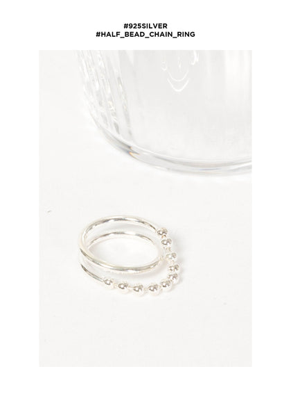 925 Silver Half Bead Chain Ring