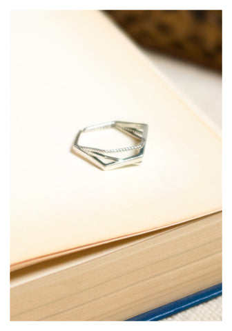 925 Silver Mixed Hexagon Ring - whoami