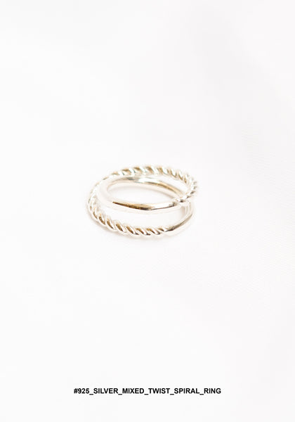 925 Silver Mixed Twist Spiral Ring - whoami
