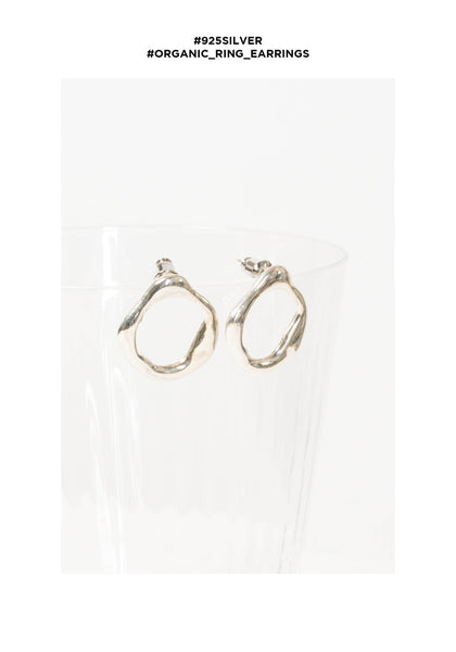 925 Silver Organic Ring Earrings