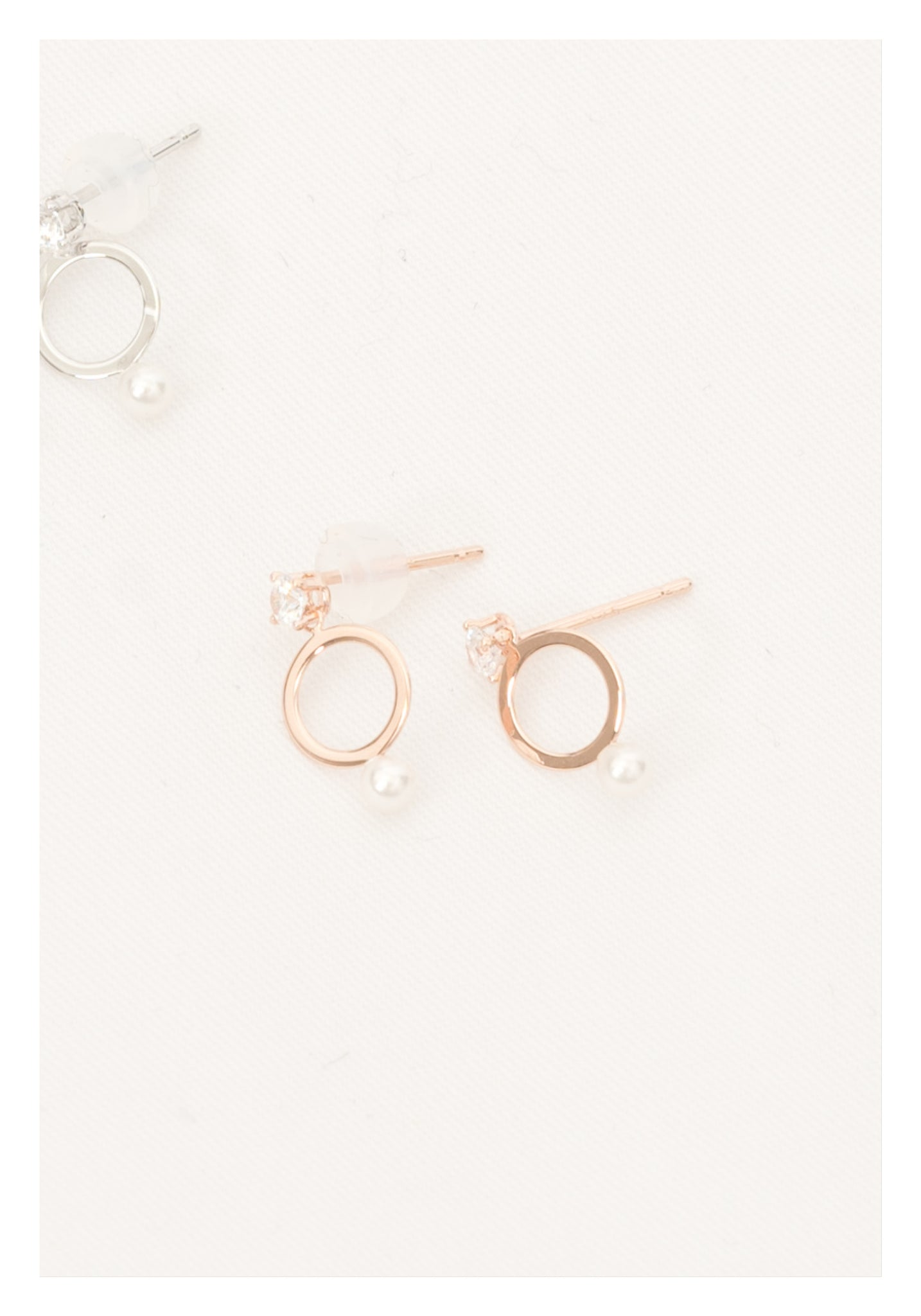 925 Silver Rose Gold And Pearl Ring Earrings - whoami