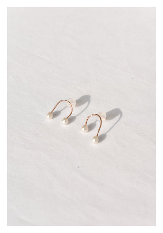 925 Silver Rose Gold U Pearl Earrings - whoami