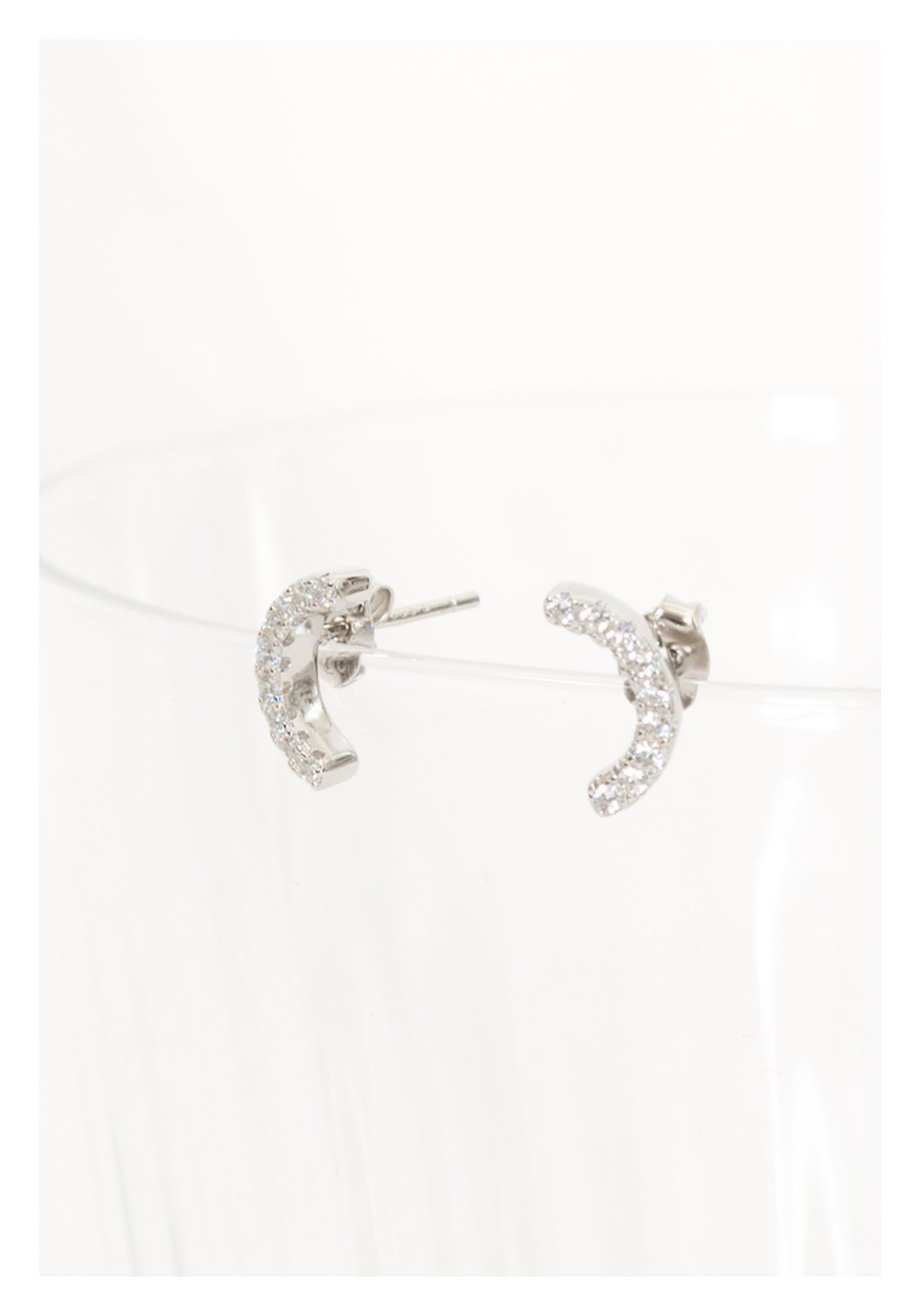 925 Silver Sparkle Curved Earrings - whoami