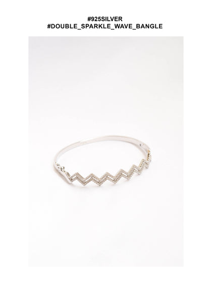 925 Silver Double Sparkle Wave Bangle - whoami