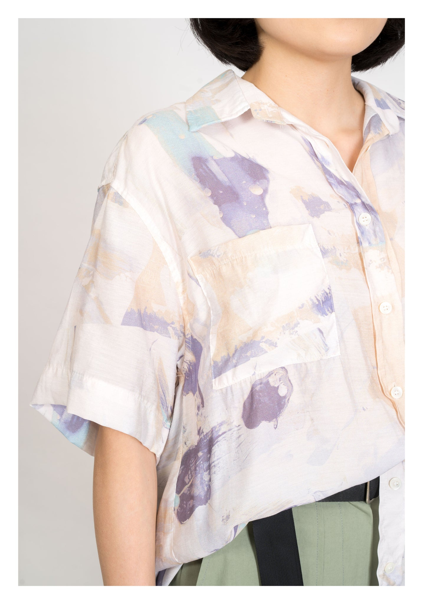 Abstract Ink Pattern Shirt Blue - whoami