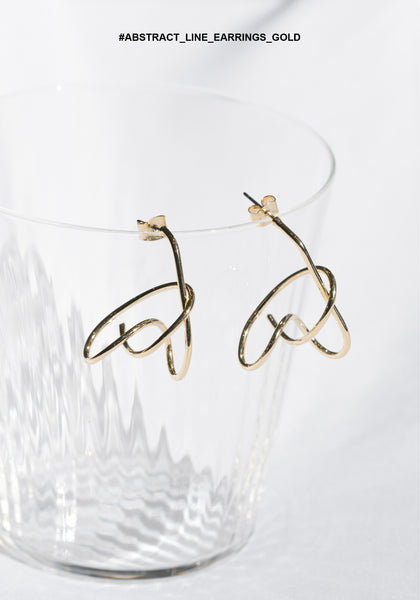Abstract Line Earrings Gold - whoami