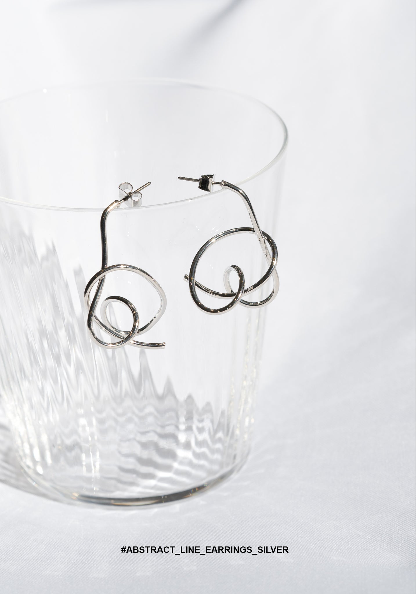 Abstract Line Earrings Silver - whoami