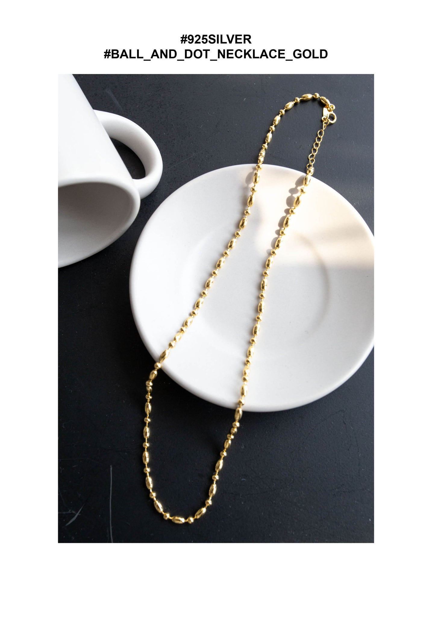 925 Silver Ball and Dot Necklace Gold