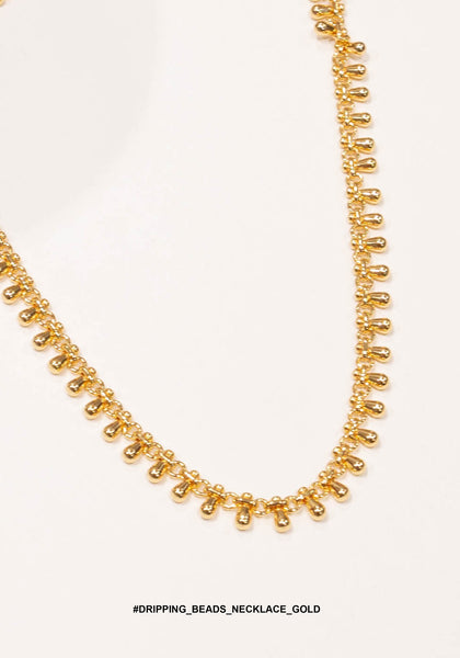 Dripping Beads Necklace Gold - whoami
