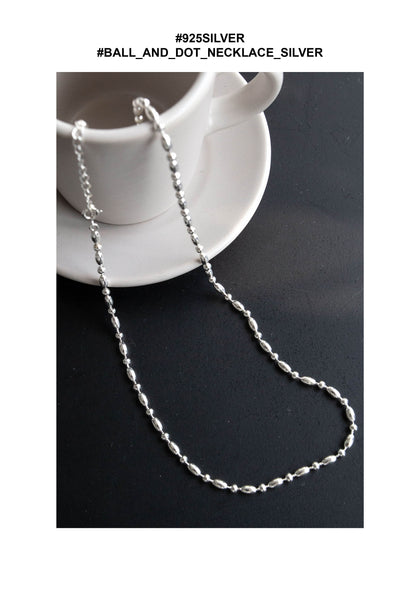 925 Silver Ball and Dot Necklace Silver