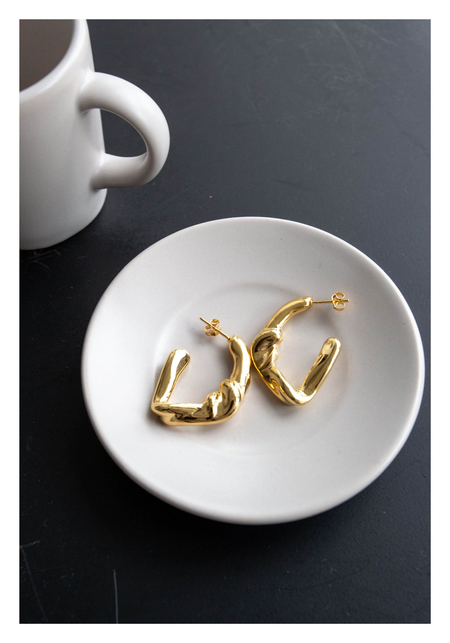 925 Silver Twisting Knot Earrings Gold
