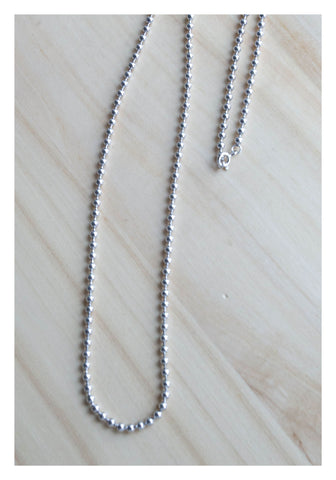 925 Silver Simple Dot Long Necklace