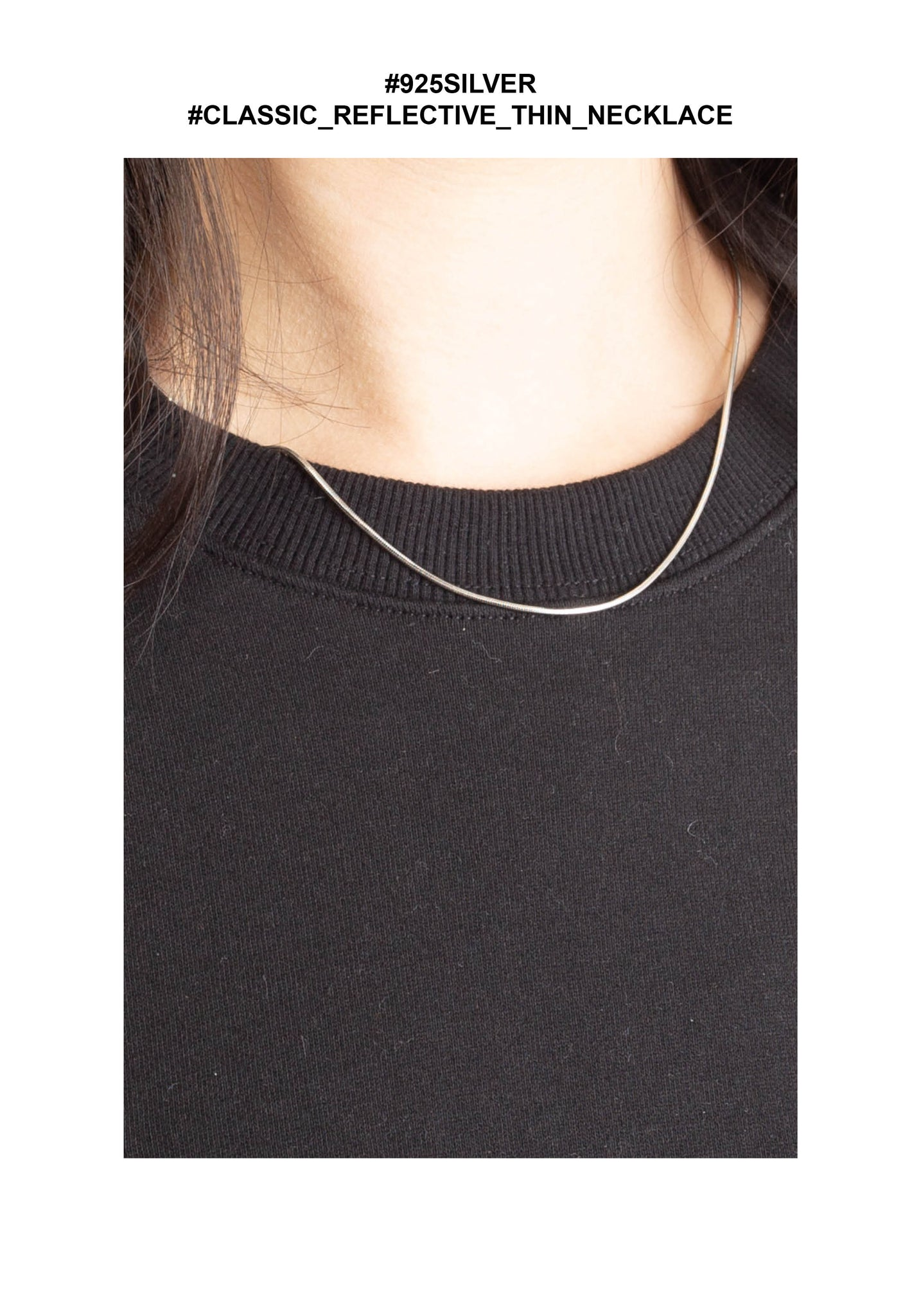 925 Silver Classic Reflective Thin Necklace - whoami