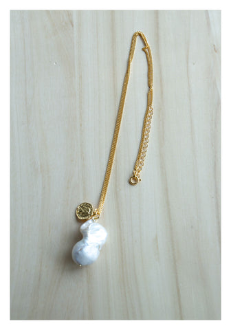 925 Silver Gold Medal and Baroque Pearl Necklace