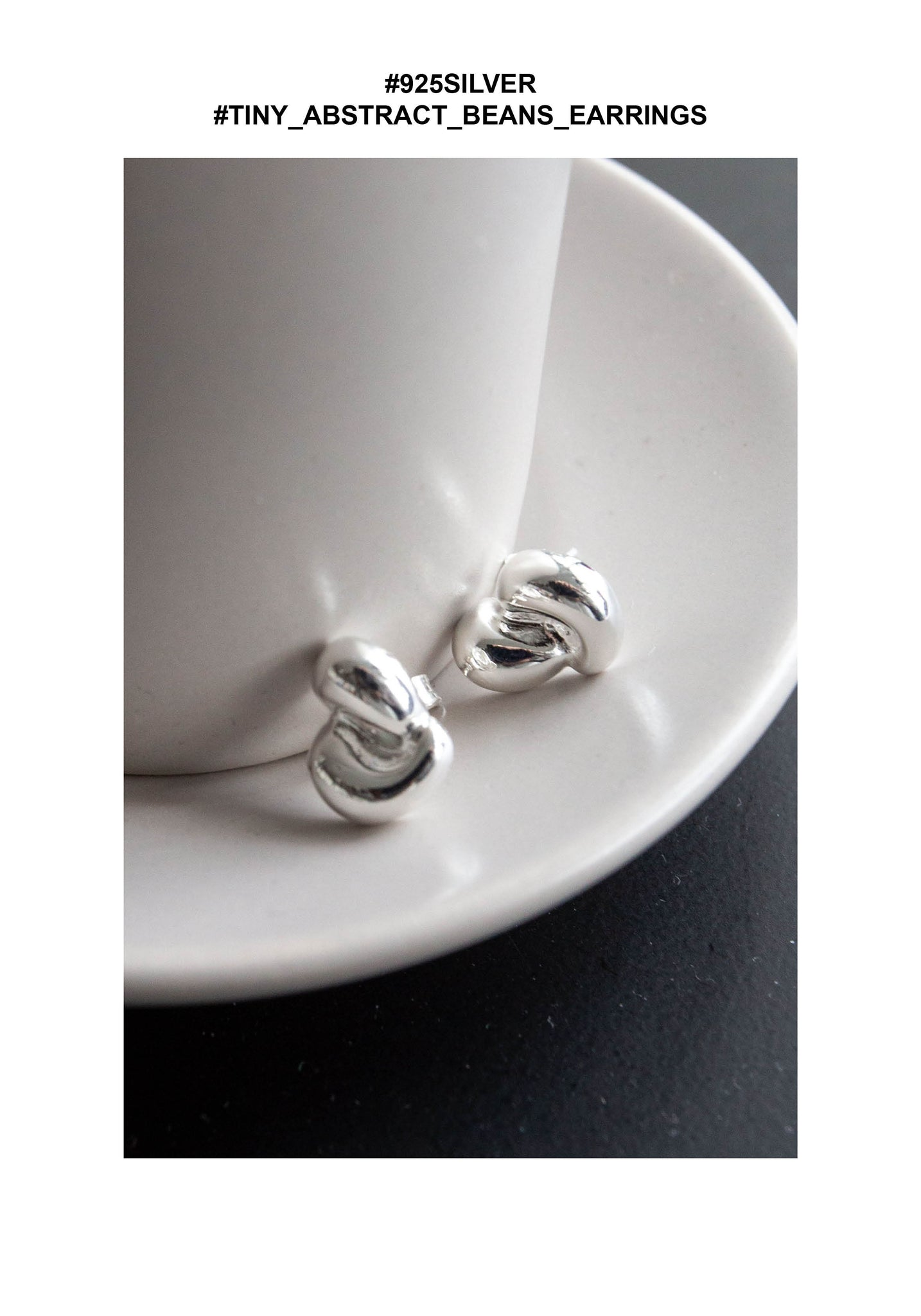 925 Silver Tiny Abstract Beans Earrings
