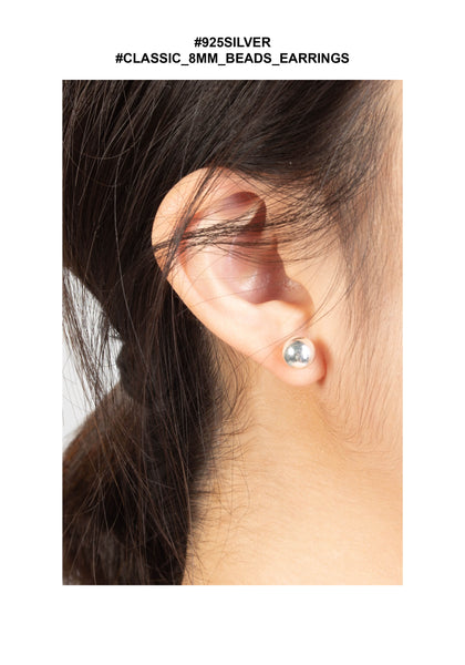 925 Silver Classic 8mm Beads Earrings