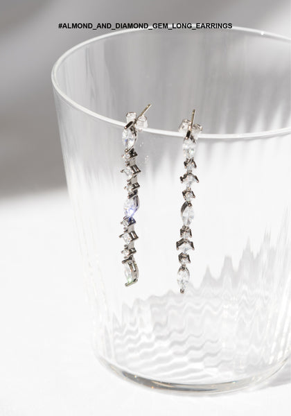 Almond And Diamond Gem Long Earrings - whoami