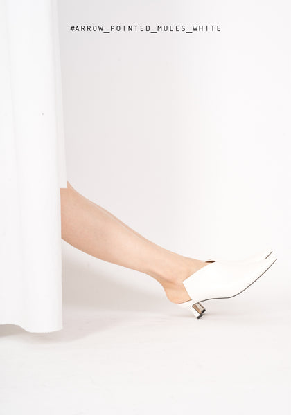 Arrow Pointed Mules White - whoami
