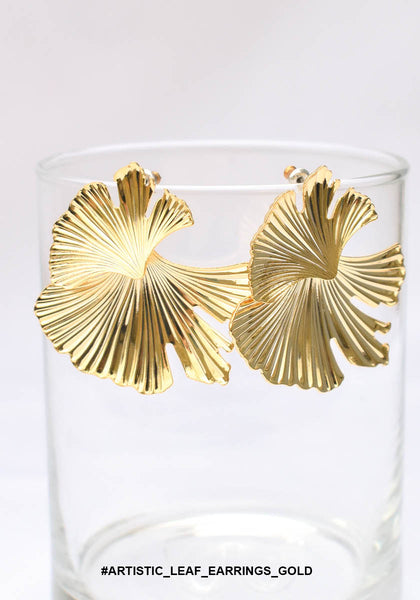 Artistic Leaf Earrings Gold - whoami