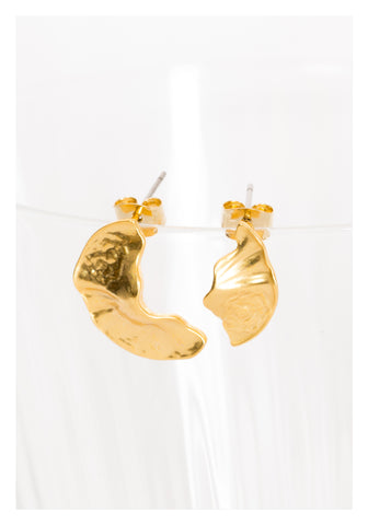 Asymmetric Organic Golden Earrings - whoami