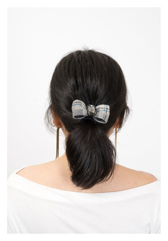Bold Gem And Checker Ribbon Hairband Grey