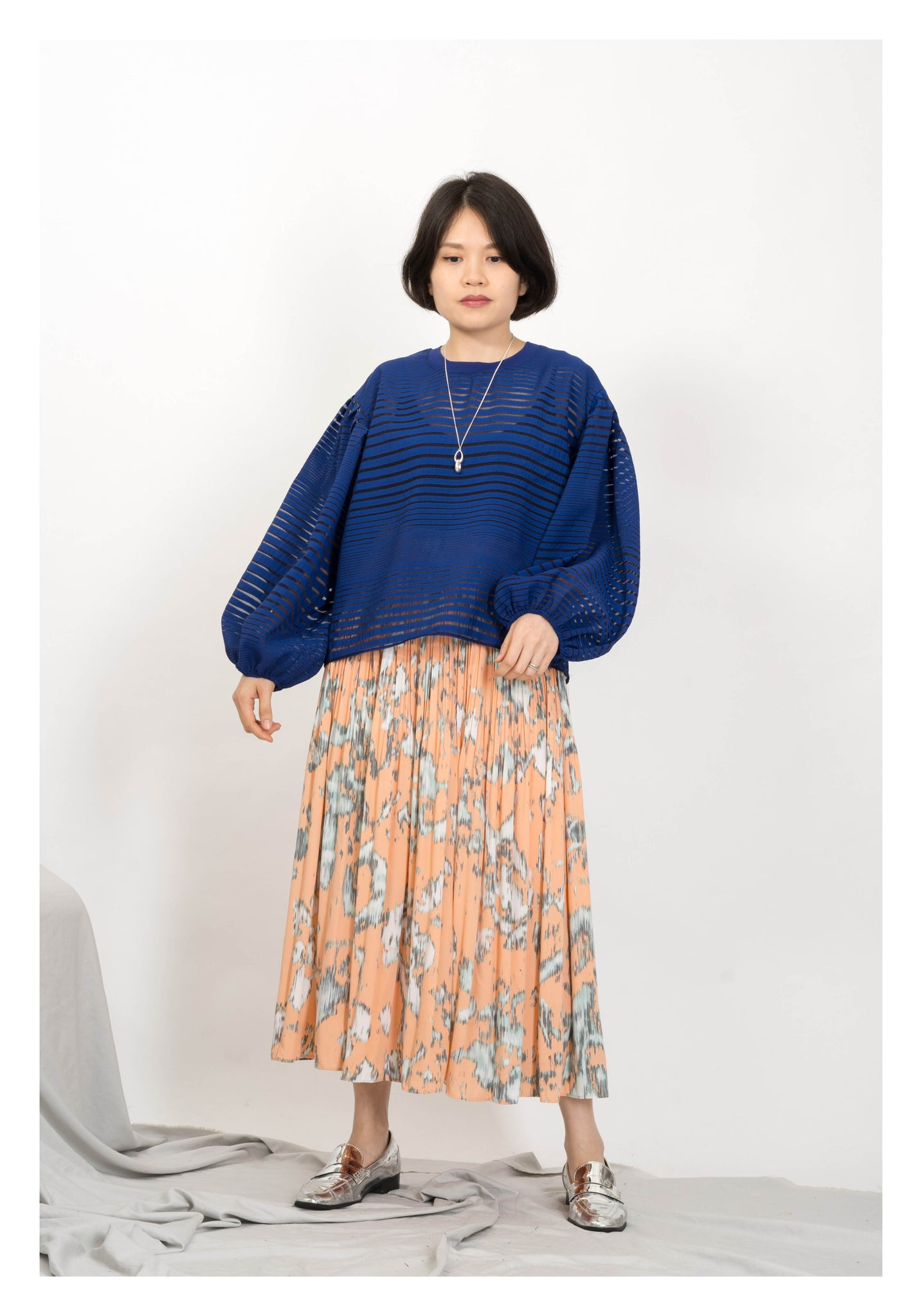 Abstarct Pattern Pleated Long Skirt Orange