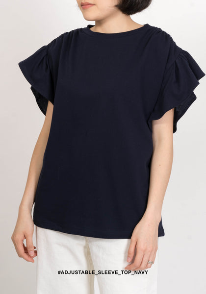 Adjustable Sleeve Top Navy