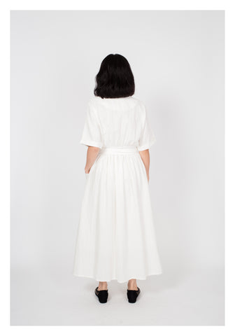 All White Pockets Wrap Dress