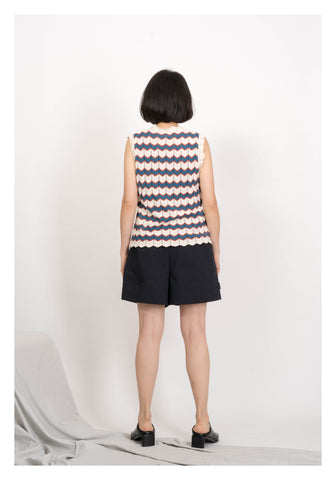 Arrow Pattern Knit Vest Navy
