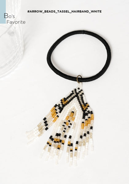 Arrow Beads Tassel Hairband White