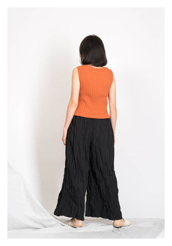 Asymmetric Ribbed Vest Orange - whoami