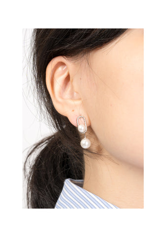 925 Silver Ellipse And Moblie Faux Pearl Earrings - whoami