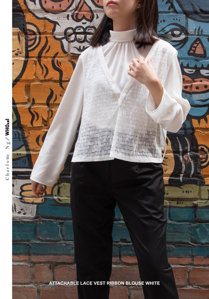 Attachable Lace Vest Ribbon Blouse White - whoami