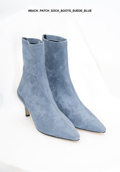 Back Patch Sock Boots Suede Blue - whoami