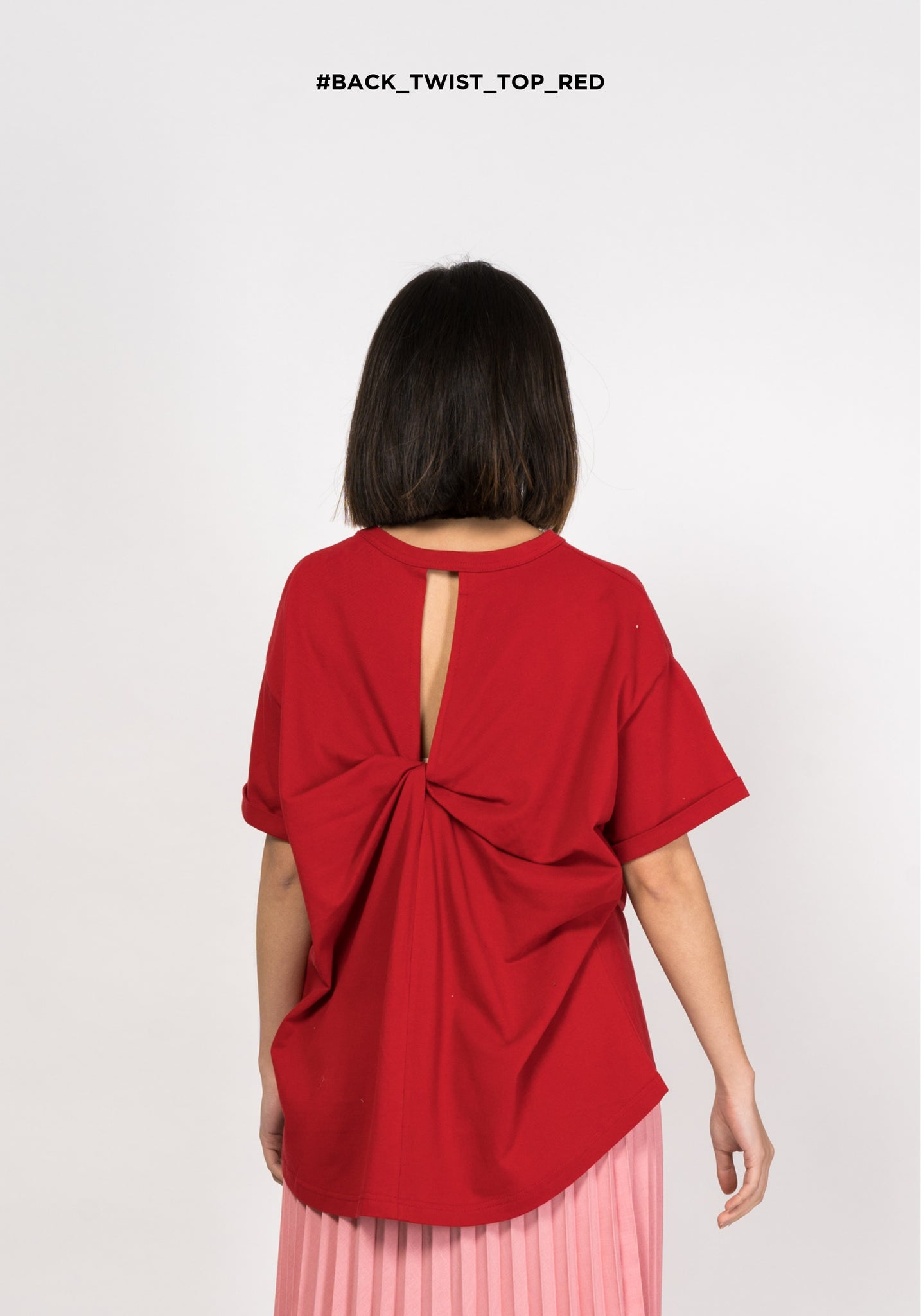 Back Twist Top Red