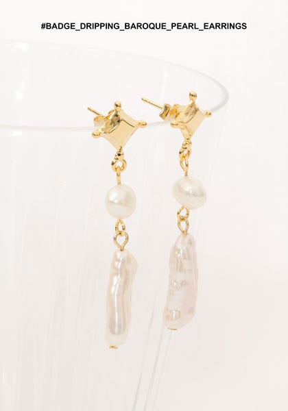 Badge Dripping Baroque Pearl Earrings - whoami