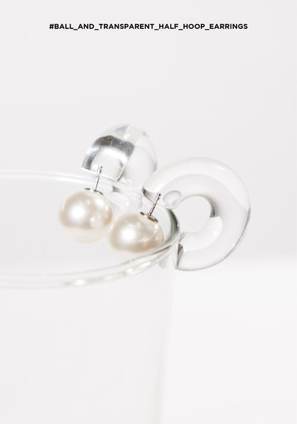 Ball And Transparent Half Hoop Earrings - whoami