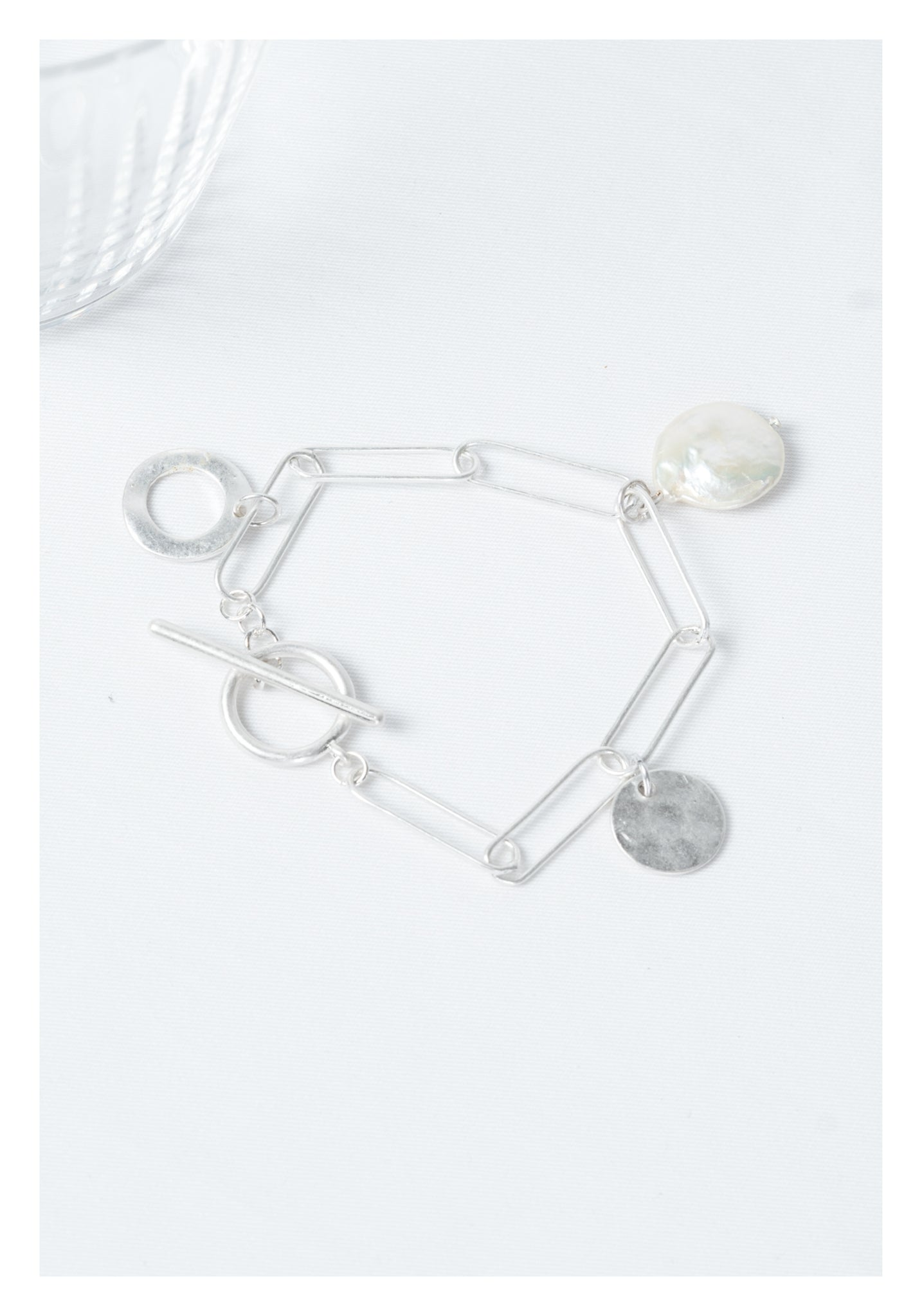 Baroque Pearl and Pendant Bracelet Silver - whoami
