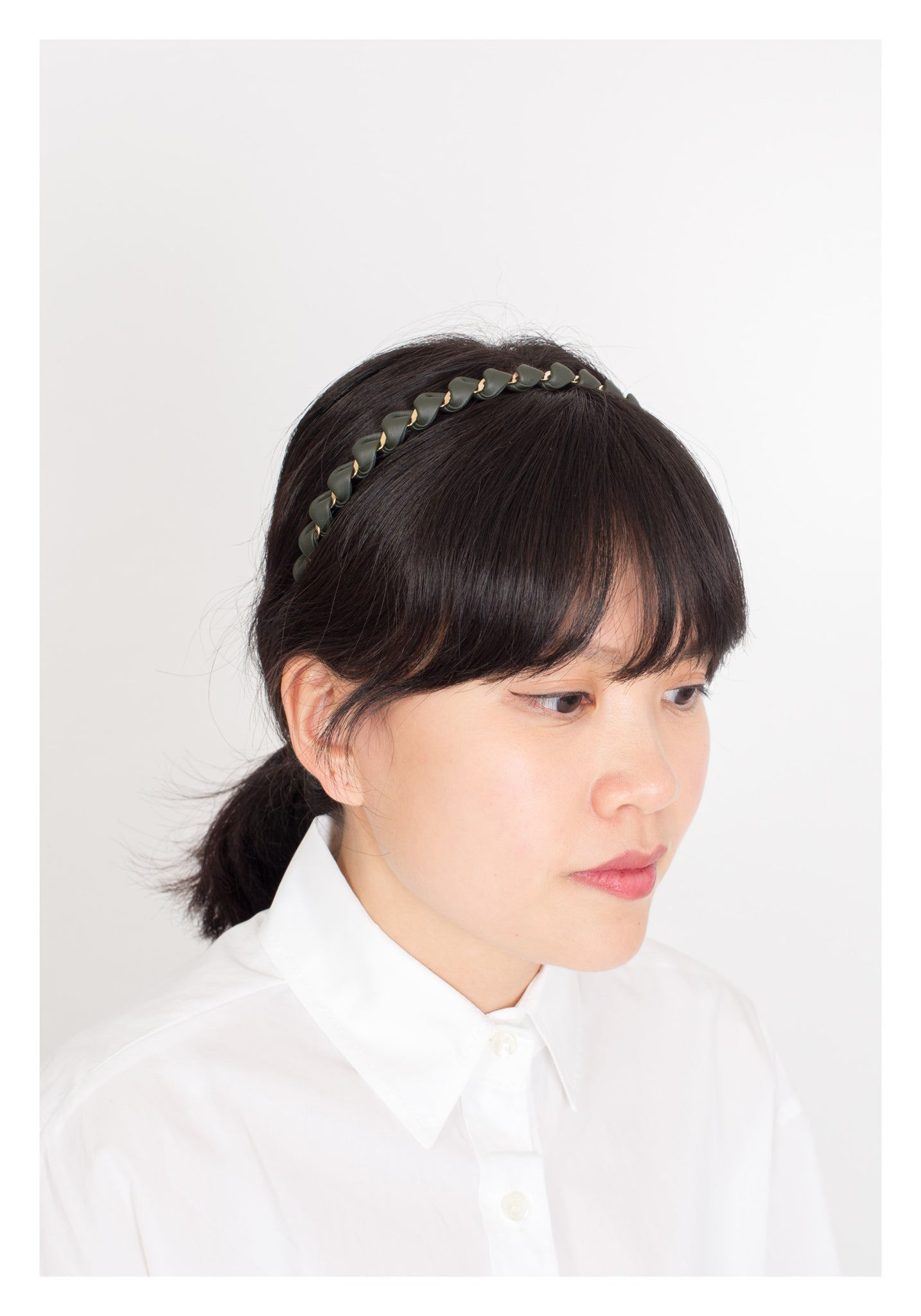 Faux Leather Twist Headband Military Green - whoami