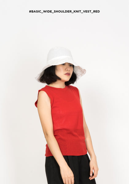 Basic Wide Shoulder Knit Vest Red