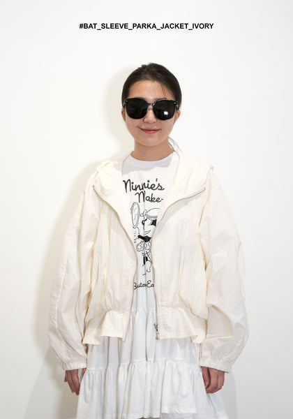 Bat Sleeve Parka Jacket Beige
