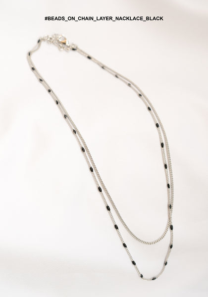 Beads On Chain Layer Nacklace Black - whoami