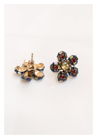 Beads Outline Flower Earrings Blue